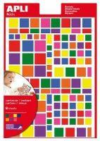 APLI etikety čtverce mix velikostí 756ks/bal mix barev