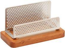Sakota DKA1742 stojánek na vizitky stříbrný + dřevo